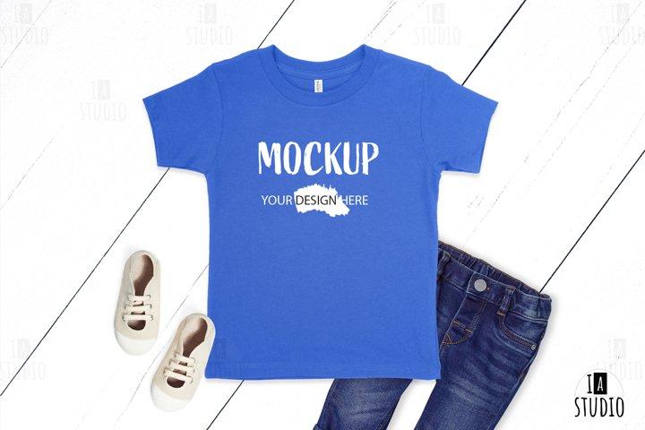 Kids T Shirt Mockup / Bella Canvas 3001T Blue Mockup
