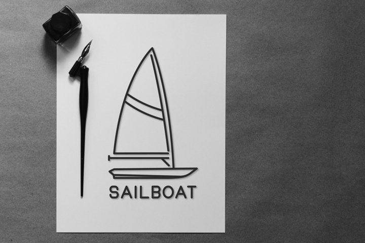 sailboat outline logo design