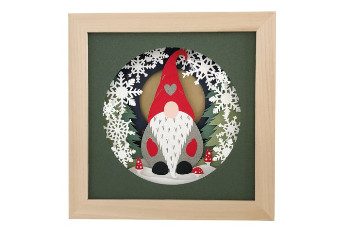 Christmas Gnome Shadow Box 3D Papercut Template