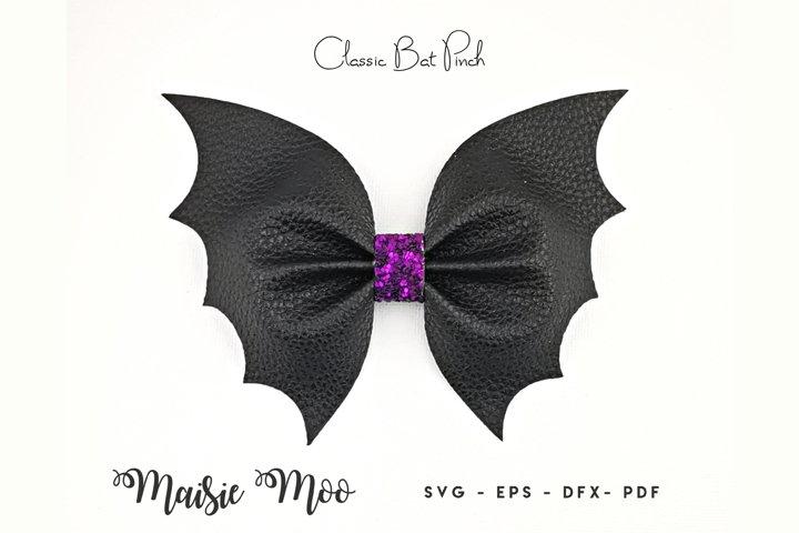 Classic Bat Pinch Bow SVG   Halloween Bow Template   Bat Bow