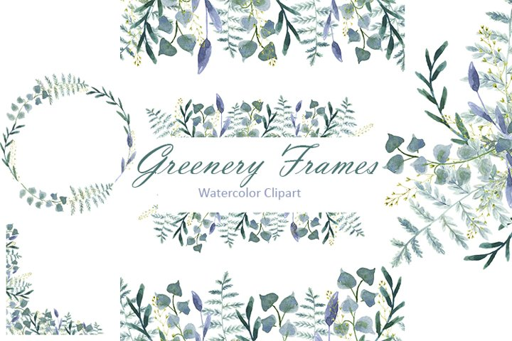 Watercolor Greenery Frames clipart 13PNG frames. 5 twigs PNG