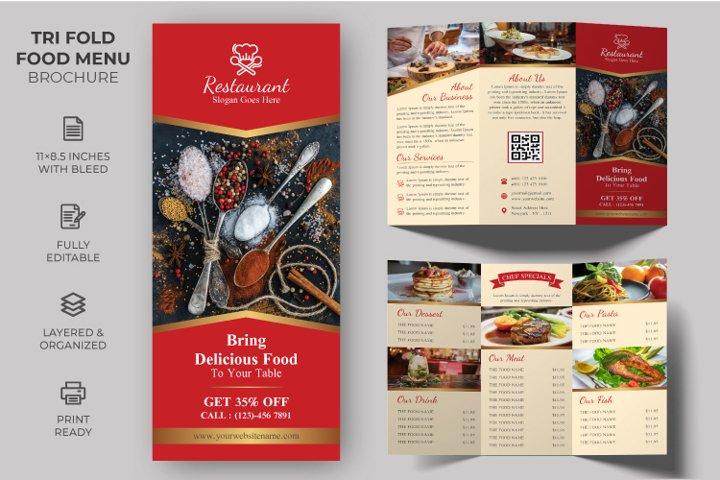 Tri-fold Food Menu Brochure Template