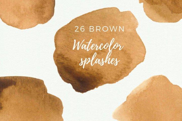 Brown Watercolor splash clipart, Brown watercolor brush