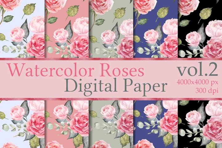 Watercolor Roses Digital Paper