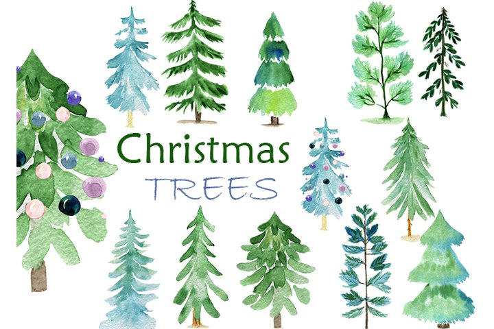 Christmas trees. watercolor trees clipart. PNG