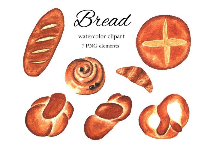 Hand drawn watercolor bread clipart