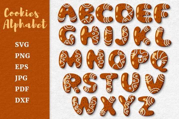 Gingerbread Cookies Alphabet. Christmas cookies letters SVG