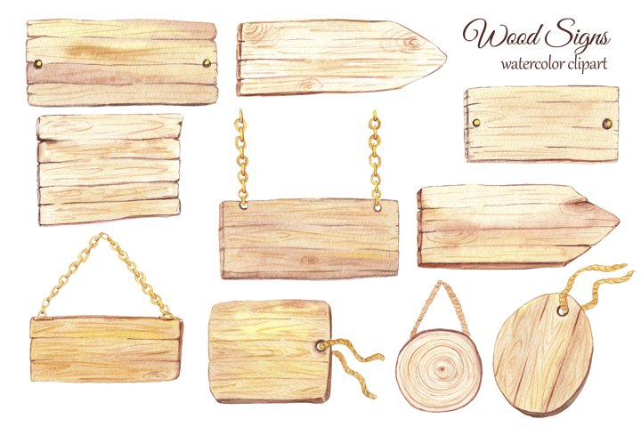 Watercolor wood slice clipart, Wooden rustic elements example 3