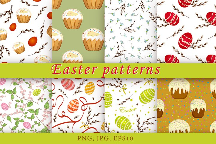 Easter patterns with decorated eggs, willow twigs and Easter