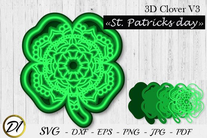 Layered Shamrock. 3D clover SVG. Multilayer SVG