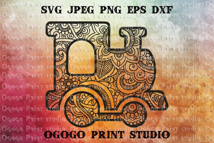 Train Svg, Mandala svg, Travel Love SVG, Zentangle SVG