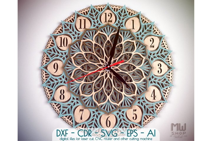 C25 - Yoga Clock DXF for Laser cut, Mandala Clock SVG