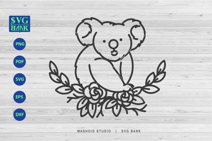 Koala SVG, Funny Koala, Koala with flower svg dxf eps png