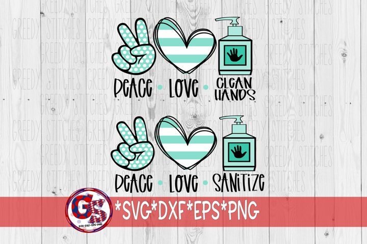 Peace Love Sanitize | Peace Love Clean Hands SVG DXF EPS PNG