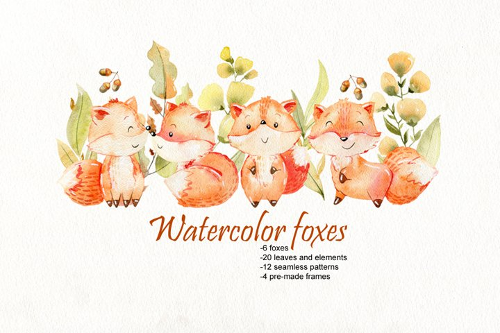Watercolor foxes. Kit.