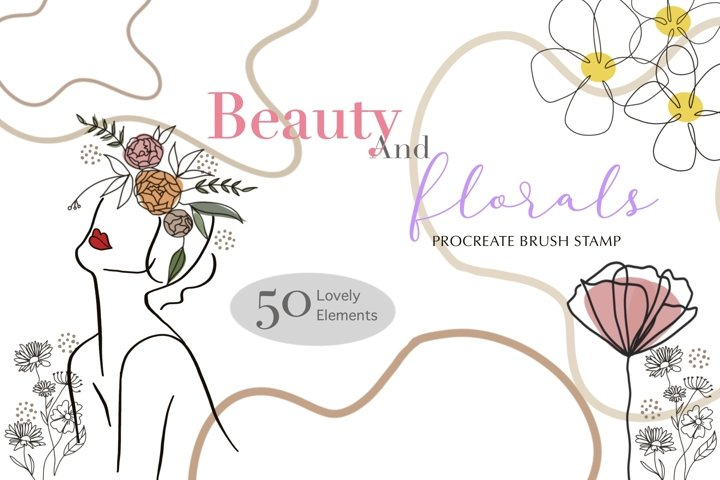 Beauty and Florals Procreate Brush Stamp 50 Lovely Element