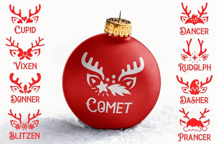 Reindeer names bundle SVG, reindeer Ornaments SVG cut files
