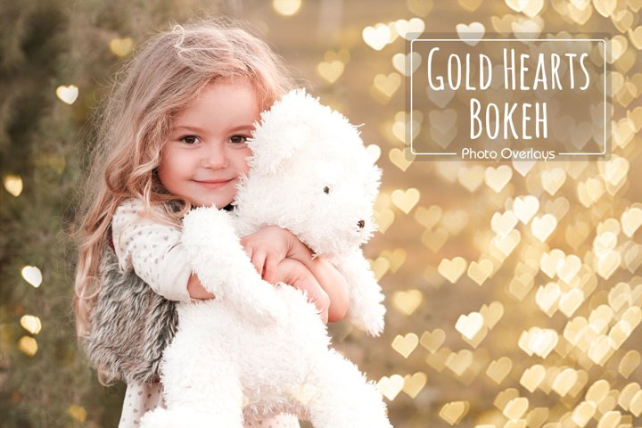 36 Gold Hearts Bokeh Overlays