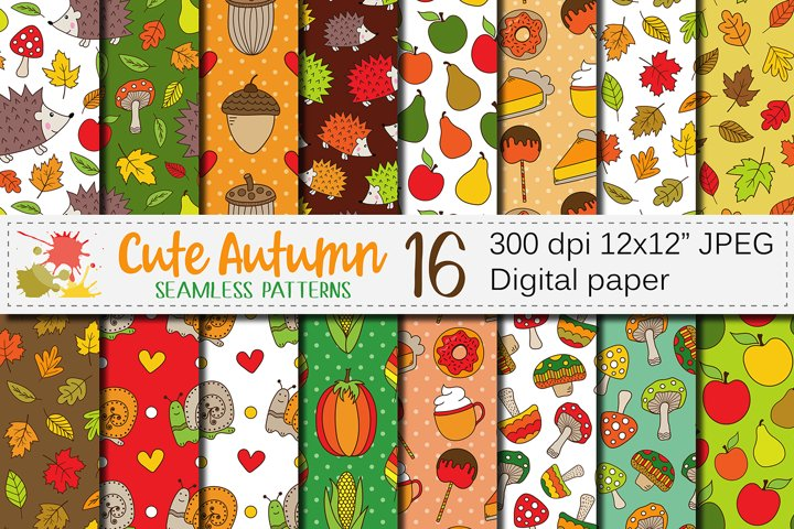 Cute Autumn seamless patterns / Fall digital paper