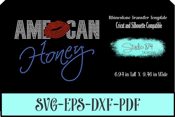 American Honey Rhinestone SVG Template R1