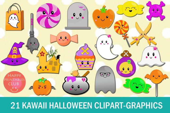 21 Kawaii Halloween Clipart-Halloween Kawaii Graphics