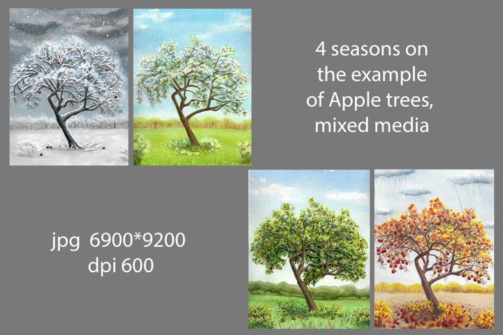 4 seasons on the example of Apple trees, mixed media