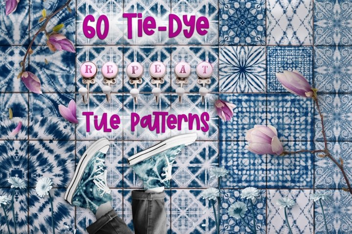 60 Tie Dye Repeat Tile Patterns JPG/PNG 4000x4000px