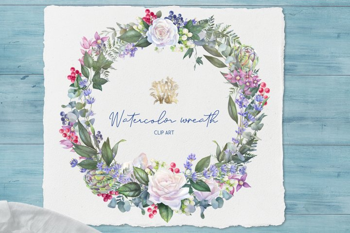 Watercolor wreath in vintage style, wedding clipart