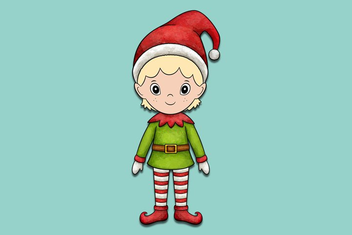Santas Little Helper Elf Christmas Illustration