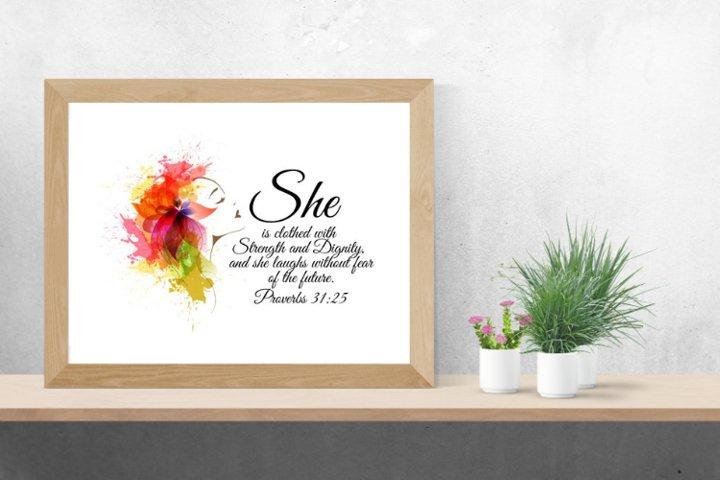 Proverbs 31_25, christian wall art,