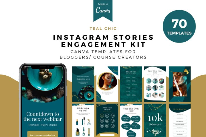 Instagram Story, Teal Chic, CustomizableCANVA Template