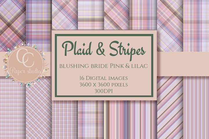 Digital paper - Plaid tartan - Blushing bride pink and lilac