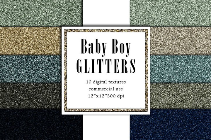 Baby Boy Glitter Textures, Blue Glitters, Green backgrounf