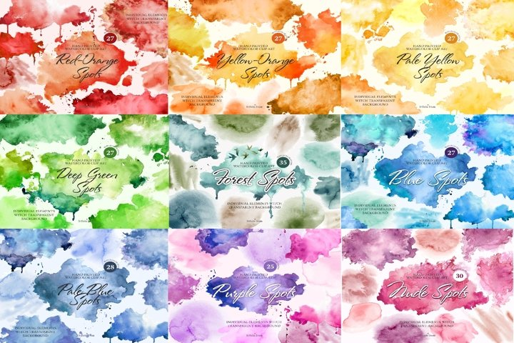 Unique watercolor 250 pcs. spots all rainbow colors .PNG .AI