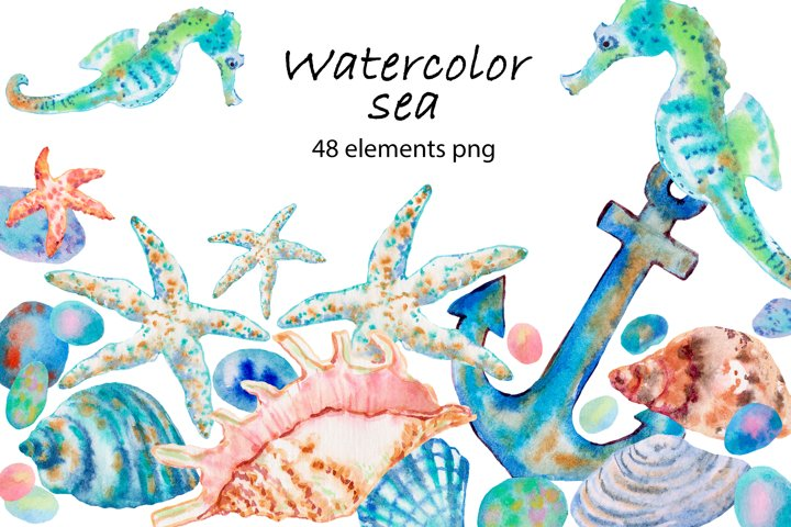 Sea watercolor clipart collection