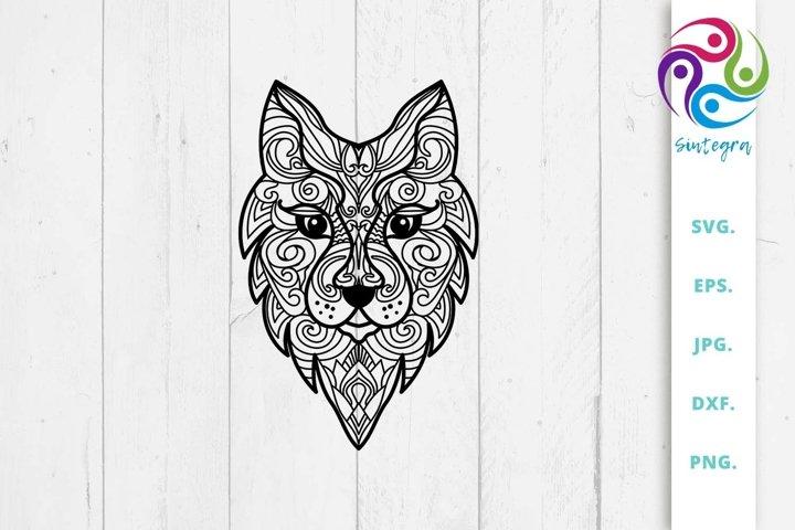 Zen Tangle Wolf Abstract Mandala SVG