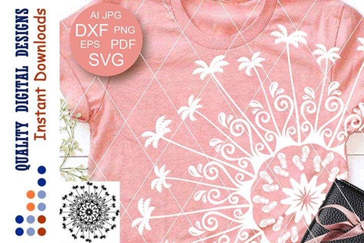 Summer Mandala palms clip art SVG files for Cricut