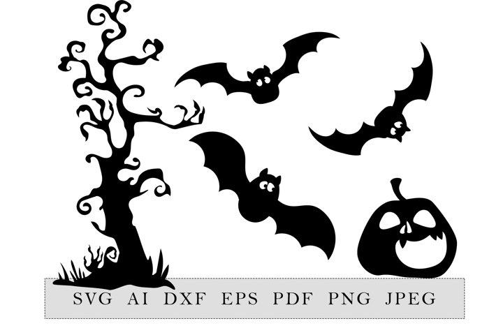 Halloween decor collection, scary tree, 3 bats, pumpkin