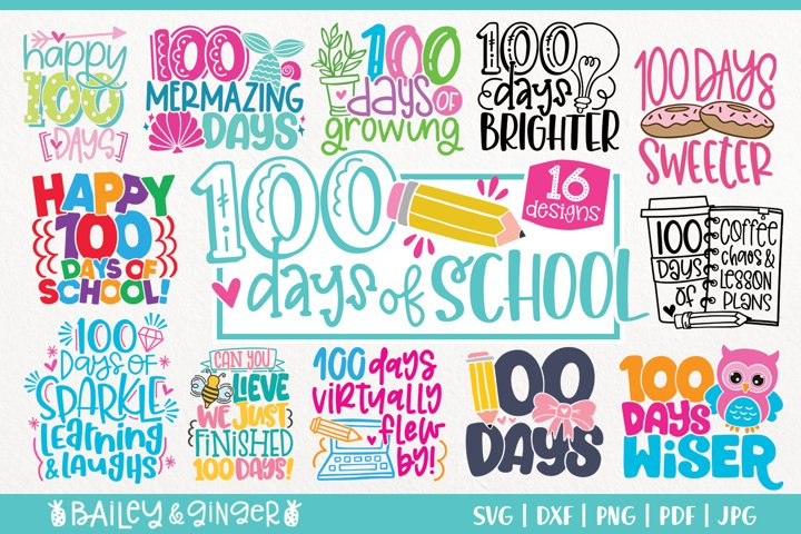 Download 100 Days Of School Svg Bundle 16 Designs 1109350 Cut Files Design Bundles