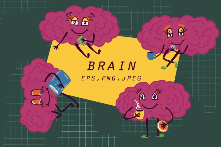 Brain character clip-art and patterns
