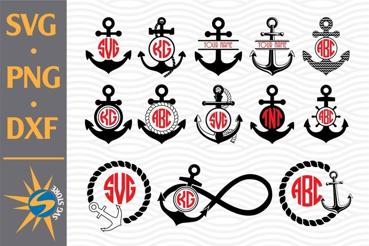 Anchor Monogram SVG, PNG, DXF Digital Files Include