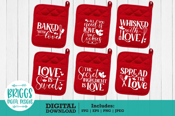 Valentines Day Pot Holder Bundle | 6 Pot holder Designs