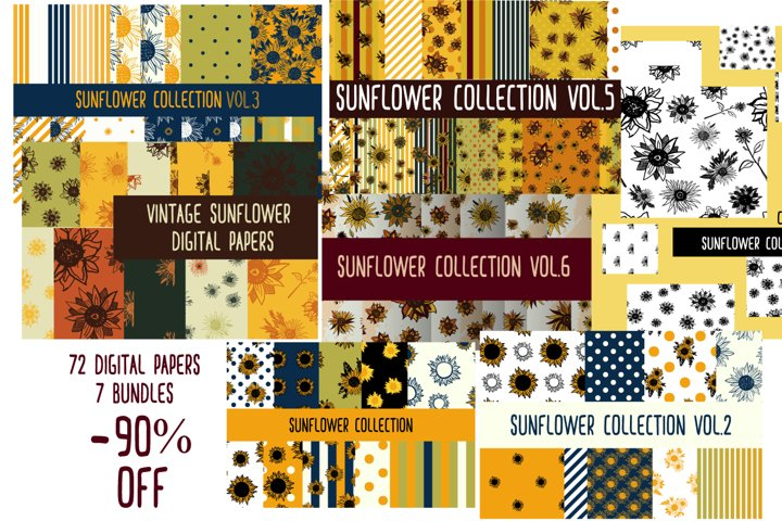 Vintage sunflower digital papers