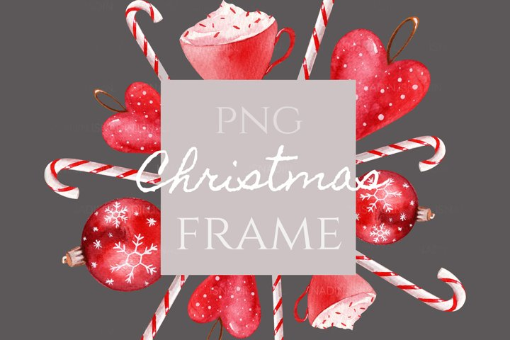 Watercolor Christmas Frame. Christmas tree toys, snowflakes