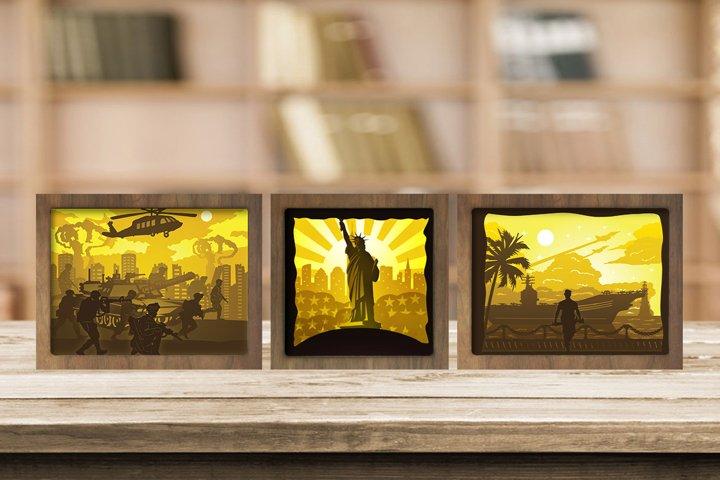 Combo 3 Templates US Military 3D Paper Cut Light Box