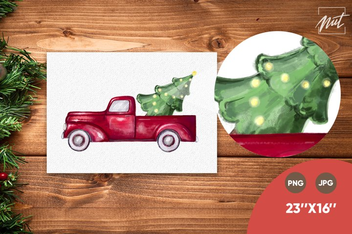 Truck with tree, red truck Christmas, Christmas sublimation