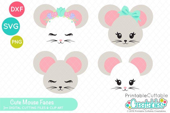 Cute Mouse Faces SVG Set