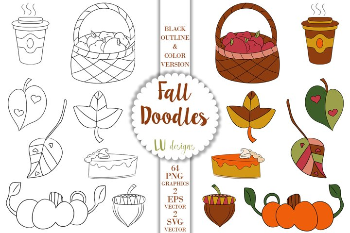 Fall Doodles Clipart, Autumn Thanksgiving Doodle Graphics