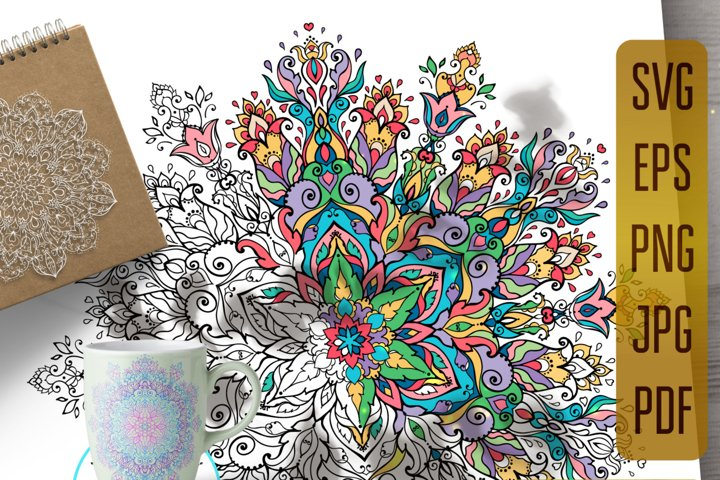 Mandala svg files for Coloring, mandala of beauty antistress