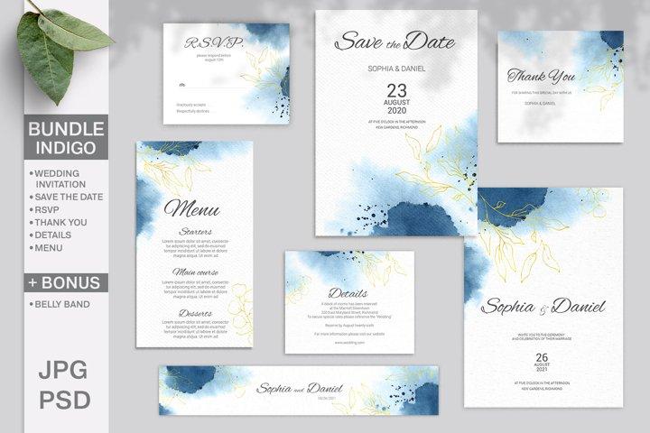 Indigo Wedding Invitation Bundle. Editable template